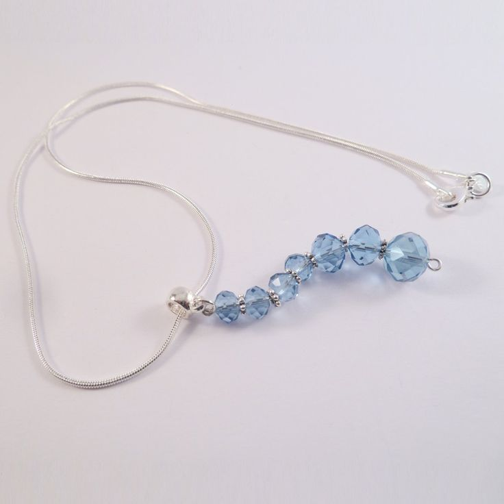 Swarovski element necklace with blue beads