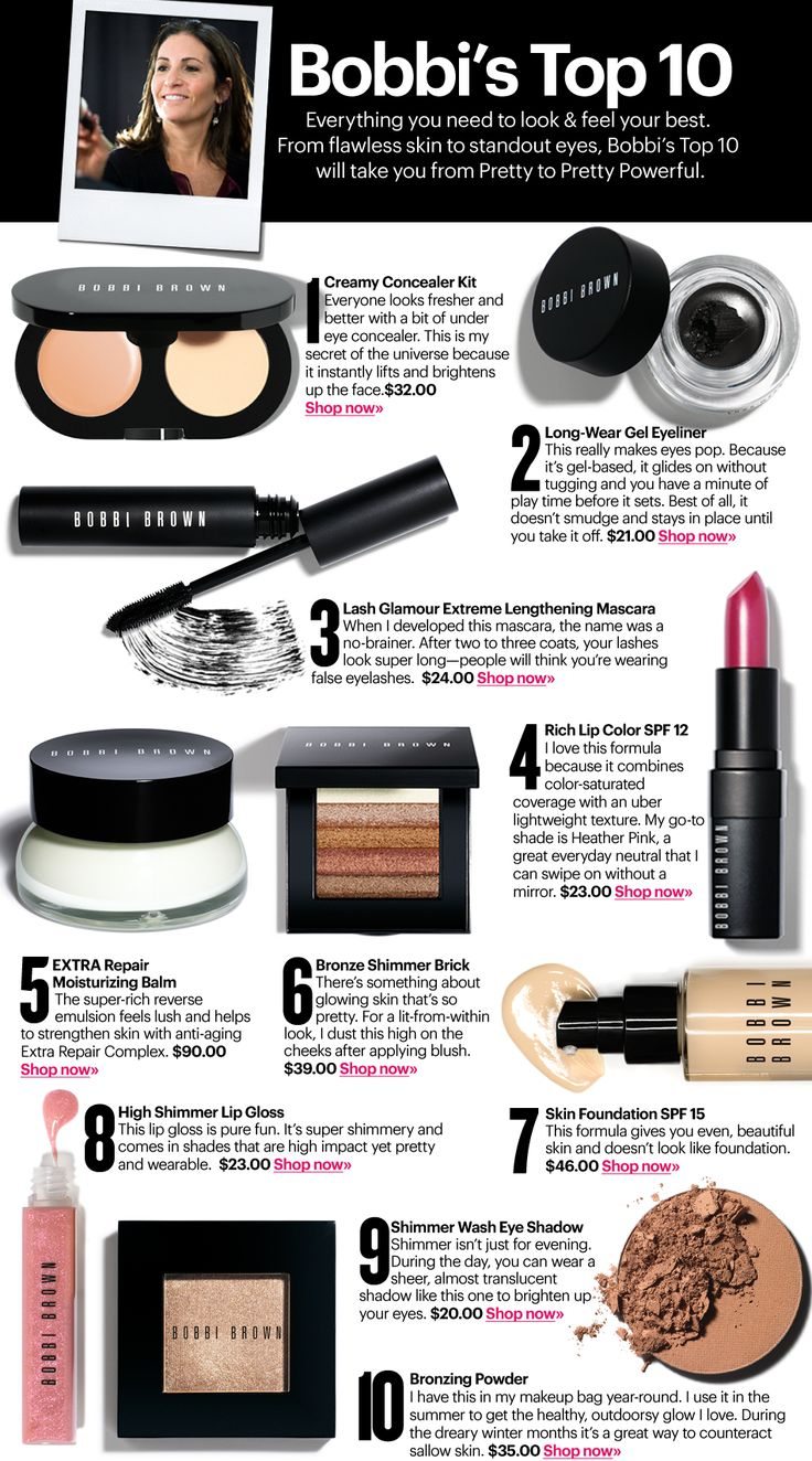Bobbi Brown's top 10 beauty products. Mine would be pretty similar to hers but I love her SPF tinted moisturizer, natural bronzer, shimmer brick, eye gel liner and concealer and my go to lipgloss if buff, a pretty neutral pink without too much sparkle, I put it over MACs hug me or velvet teddy.