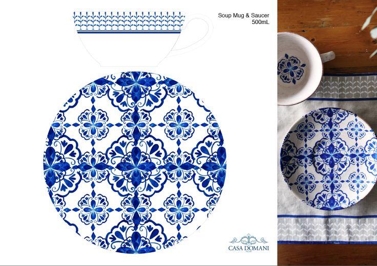Soup Mug and Saucer pattern concept by RMIT University Textile Design student, Laudianne Masri