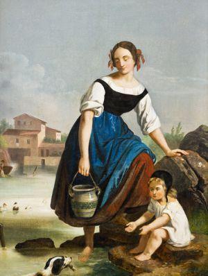 Antonín Mánes - Žena s dítětem u vody