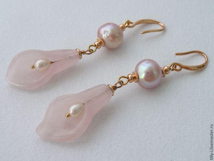 """Купить Серьги """"Розовый зефир"""" - бледно-розовый, белый жемчуг, розовый жемчуг"""