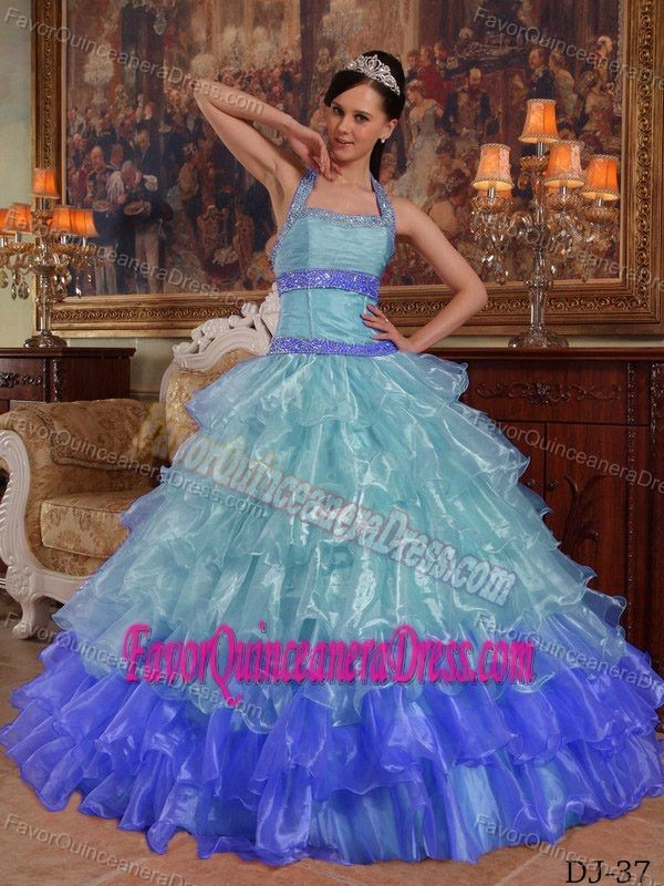 Multi-colored Halter-top Ruffled Organza Dresses for Quince with Beadings