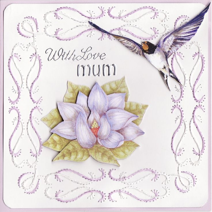 'With Love Mum' 3D Card with embroidery