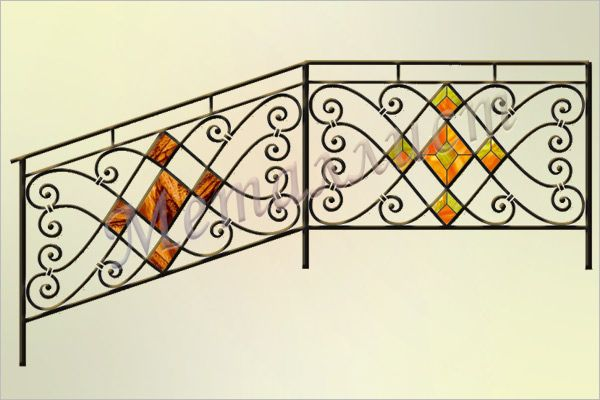 Перила кованые с витражом или цветным стеклом. Витраж в стиле тиффани / цветное стекло.   Индивидуальная проработка рисунка и цветового решения. цена: от 15070 руб.<sup>*</sup>