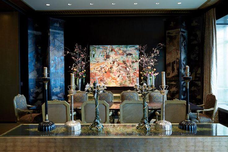 Shahid Khan's Chicago Penthouse Dining Room   Dark Walls