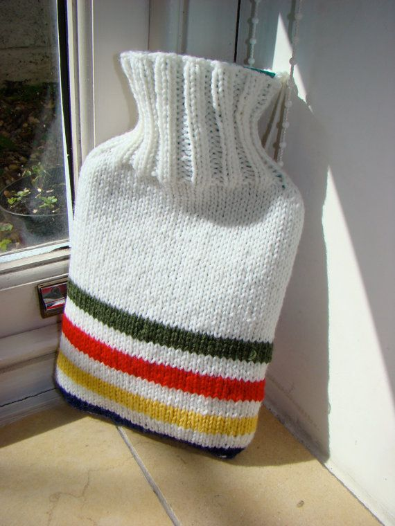 My own interpretation of a Hudson Bay Trapper Blanket - 600ml Hot Water bottle cover, for sale on Etsy at www.thisgirlknitsUK.etsy.com