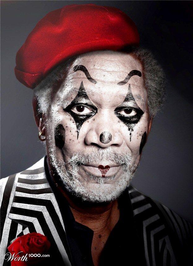 LE VISAGE de MORGAN FREEMAN peint en noir, blanc, et rouge. Portrait d'un Clown que je ne connaissais pas...