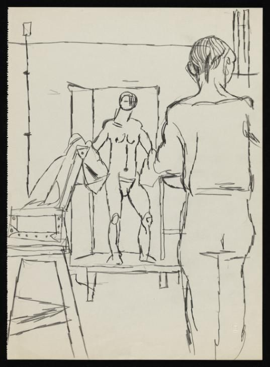 Keith Vaughan 'Drawing of three figures in a life drawing class',