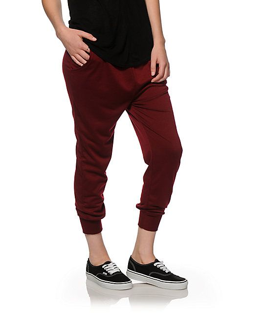 Blackberry joggers that feature a lightweight terry construction with a high waist and drop crotch fit.