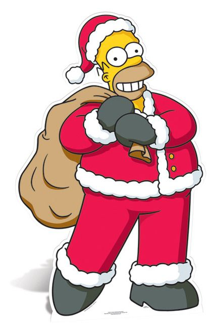 Lifesize Cardboard Cutout of Homer Simpson as Santa Claus