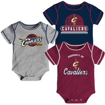NBA Cleveland Cavaliers Team Creeper, 3 Pack, Size: 0 - 3 Months, Red
