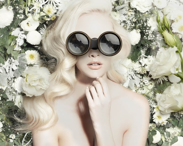 fashion photography & garden flowers haute couture style: Beautiful Editorial, Big Glasses, Blondes Beautiful, Tim Walker, Fashion Photography, Hair, Flower Photography, Pastel Color, Eye