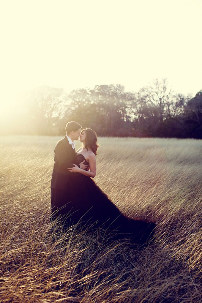A black dress and a rustic/glam engagement shoot?  Yes. Shot by Christina Carroll