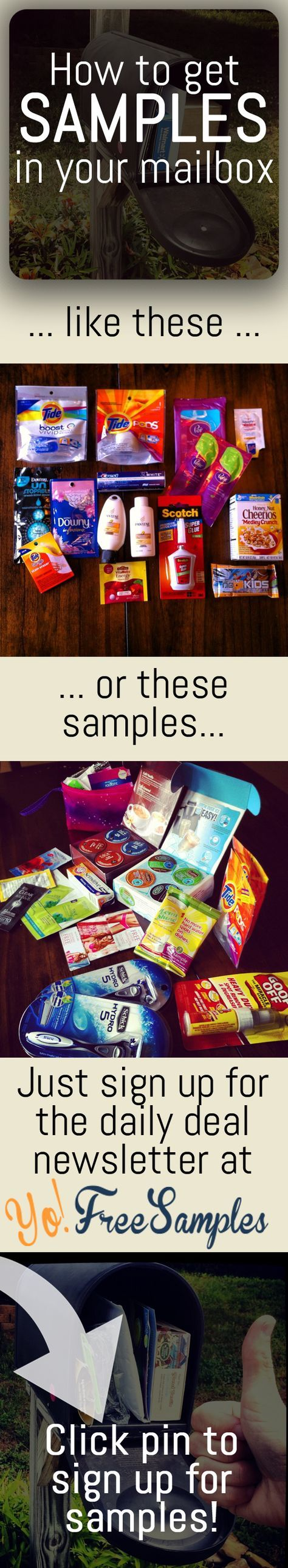The key to free samples? Our daily newsletter. Sign up here: http://yofreesamples.com/sign-up-for-totally-free-samples-by-mail/?utm_source=pinterest&utm_medium=organic&utm_campaign=pintest1