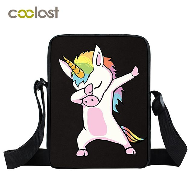 Dabbing Unicorn Mini Messenger Bag Women Hand Bags Kids Kawaii Cartoon Bags Little Crossbody Bag for Girls Boys Women Satchels
