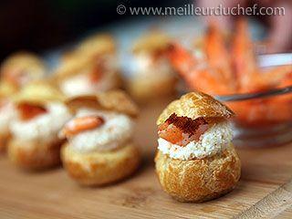 Choux fourrés à la mousse de crevettes