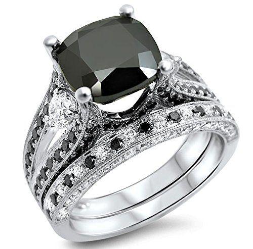 #carbonado #blackdiamondgem 4.55ct Black Cushion Cut Diamond Engagement Ring Bridal Set 14k White Gold by Front Jewelers - See more at: http://blackdiamondgemstone.com/jewelry/wedding-anniversary/bridal-sets/455ct-black-cushion-cut-diamond-engagement-ring-bridal-set-14k-white-gold-com/#!prettyPhoto
