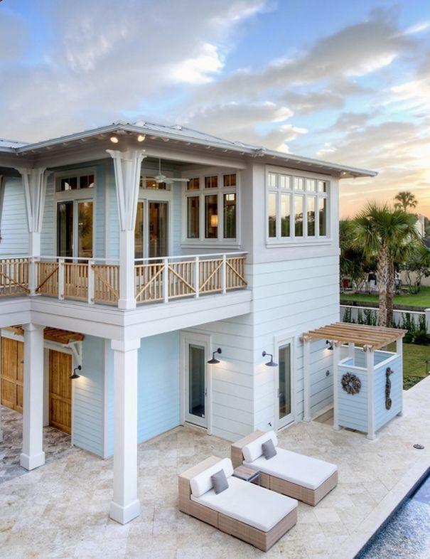 light blue beach house