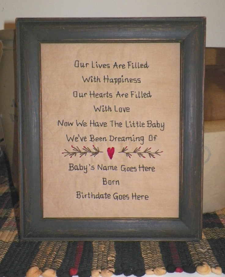 Primitive Birth Sampler New Baby PERSONALIZED Decor Stitchery Nursery Decoration Folk Art Born Child Gift Idea Present Newborn UNFRAMED. $15.50, via Etsy.