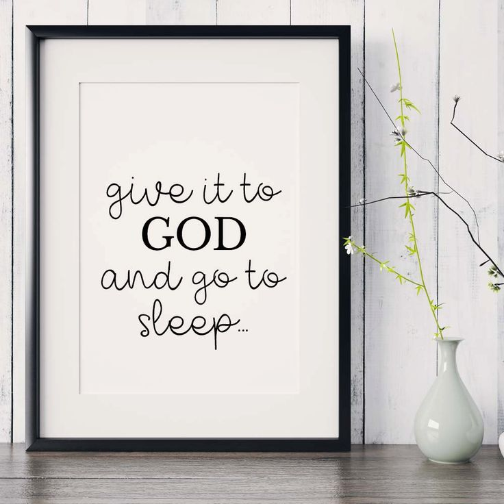 "Bible verse print, ""Give it to God and go to sleep"", Scripture Printable, Christian Wall decor, Bible Art Quote, Christian gift, Gift print by saltstudioprints on Etsy"