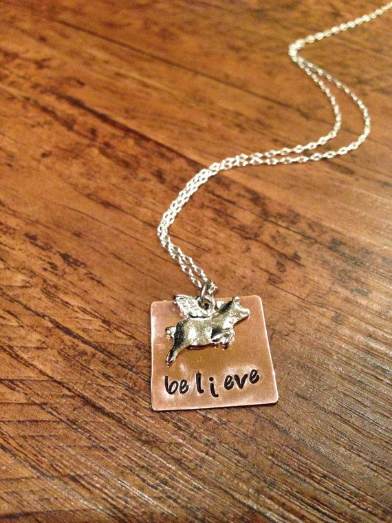 When pigs fly necklace by kimsjewelry on Etsy, $18.00