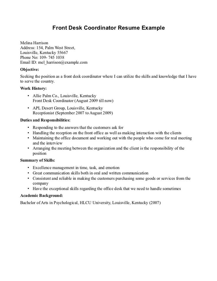 The 7 best Resume images on Pinterest Front desk, Sample resume
