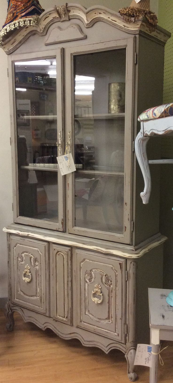 French china cabinet in Grey Limoge and White Ash Farmhouse Paint.  Aged perfectly with Farmhouse Paint Tea Stain Antiquing Gel.  #farmhousepaint #singlestep #noprep #nowax