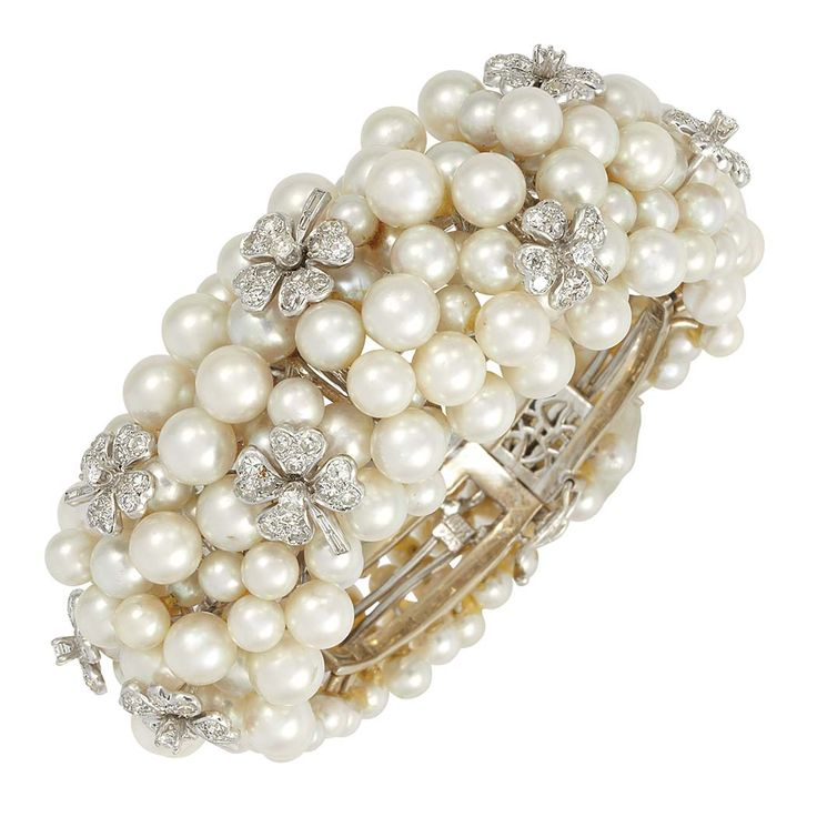 White Gold, Platinum, Cultured Pearl and Diamond Cuff Bracelet#Repin By:Pinterest++ for iPad#
