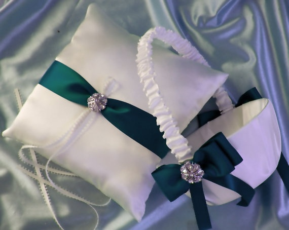 Teal Wedding Accessories Flower Girl Basket and Ring by All4Brides, $60.00