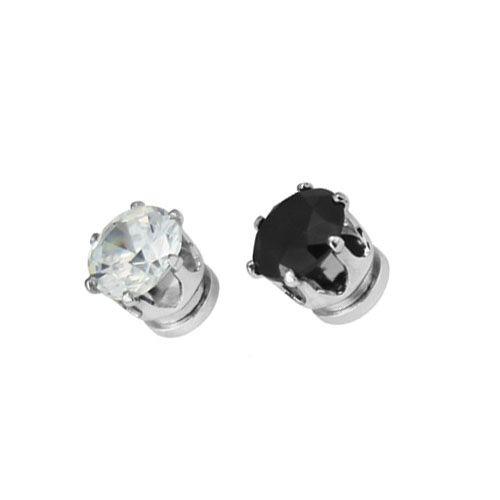 2015 HOT CZ Stud magnet Earrings for men black 6MM 8MM round trendy Fashion earrings clip no pierced pendientes de clip