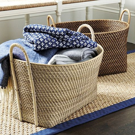 Piper Woven Basket with Handles ... For afghans/ throws, because Jammie is always cold! : )