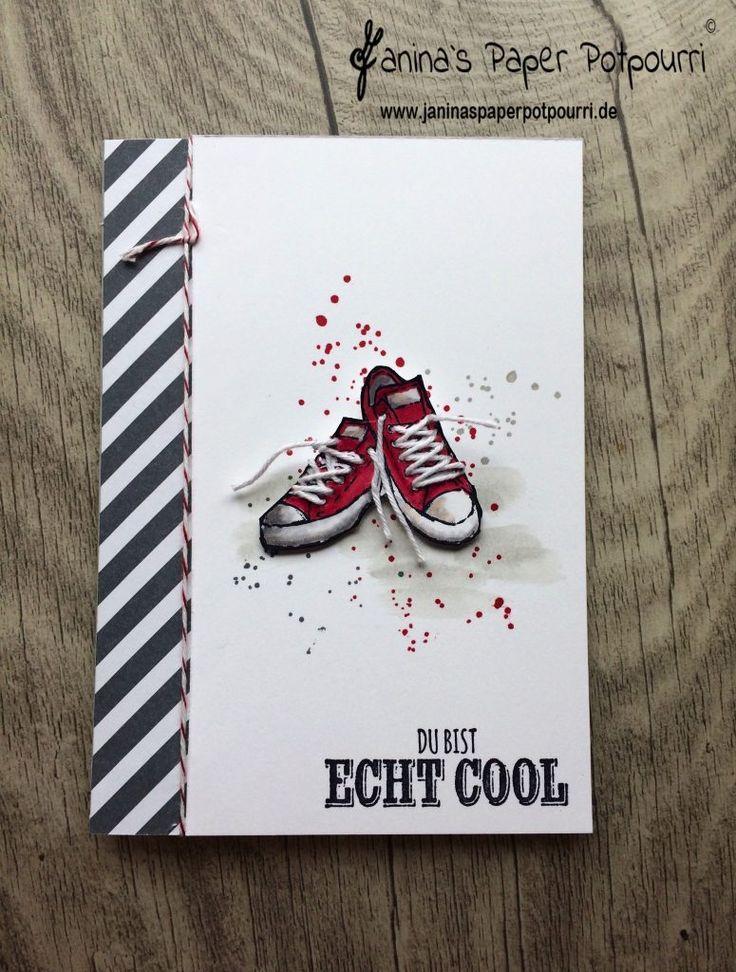 Coole Sneaker Karte mit Schnürsenkeln für Teenager
