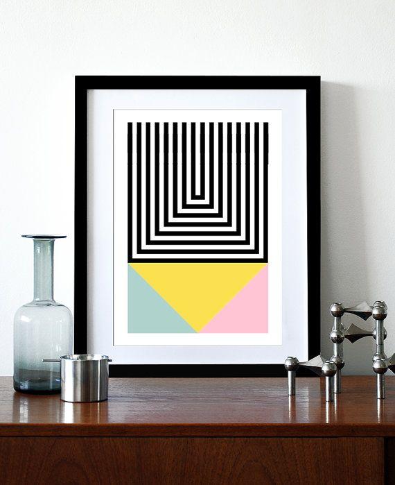 Rétro géométrique affiche impression mi siècle design scandinave moderne mur abstrait art home déco couleur pastel Bureau moderniste brutale 1 A3