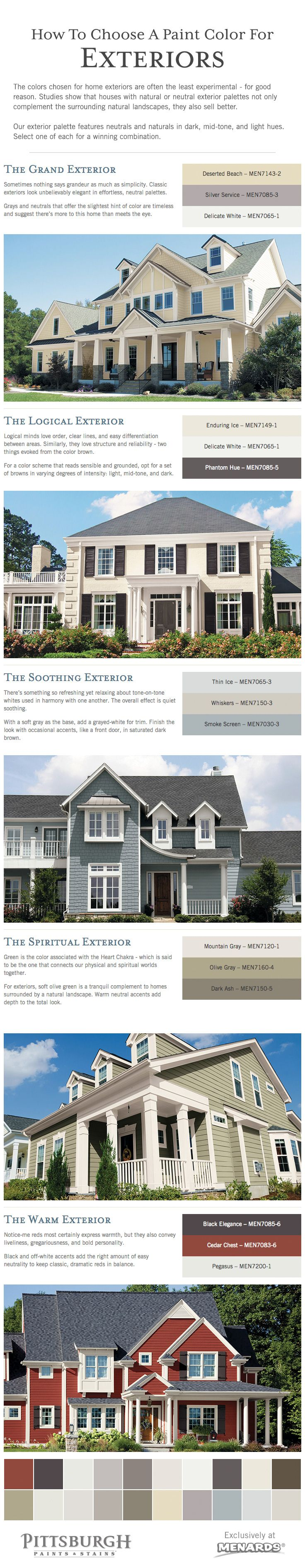 How To Choose An Exterior Paint Color For Your Home Tips From Pittsburgh  Paints U0026 Stains® At Menards®! Natural And Neutral Exterior Paint Color  Palettes To ...