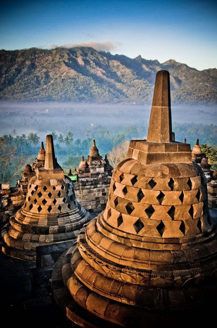Borobudur Buddhist temple, Indonesia. Watching sunrise beaming on the temple. Simply beautiful