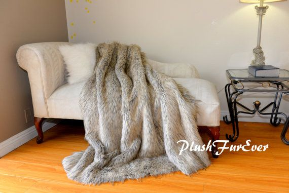 5' x 6' or 60 x 72  Silver Grey Wolf Exotic Plush by PlushFurever