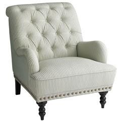Hardwood Tufted Chas Armchair Seersucker Home Decor