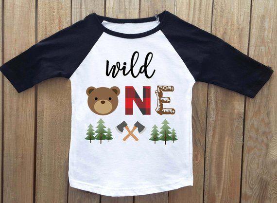 Wild One Lumberjack Birthday First Shirt Bear Woodland 1st