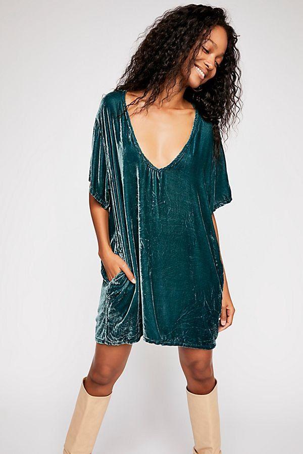 dbd88add4b Crushed Velvet T-Shirt Dress - Teal Velvet V-Neck T-Shirt Dress