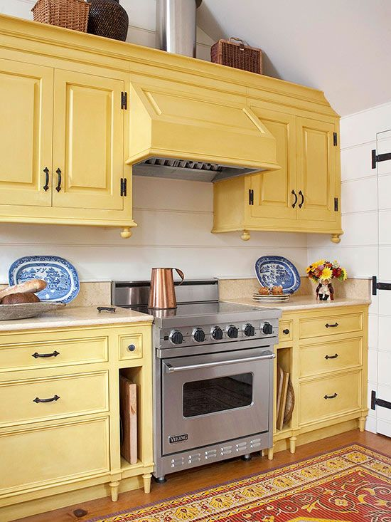 25 best ideas about yellow kitchen cabinets on pinterest for Butter cream colored kitchen cabinets