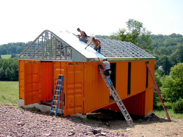 Tim Steele - Container House:  Livingston Manor NY.  I like the layout.  Nice slideshow of progression of construction.  I wonder if it'd work with a poly greenhouse roof?