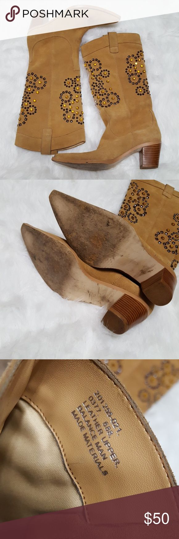 Colin Stuart studded cowboy boots Pre-owned cowboy boots by Colin Stuart. Tobacco brown with Cuban heels. Suede. Embellishments on front and back. They do have some minor wear but are in really good condition. Colin Stuart Shoes Heeled Boots