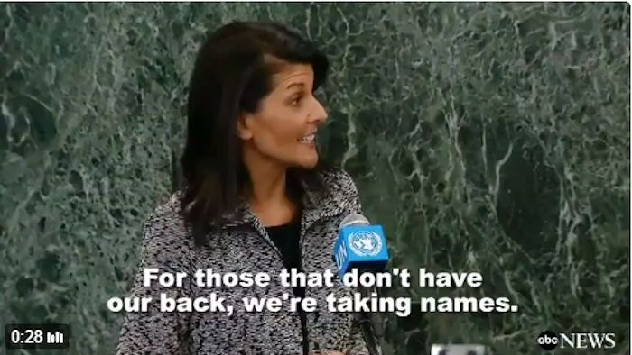 """UN Ambassador Nikki Haley Threatens Our Allies, Says She is """"Taking Names"""" 