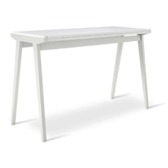 Tavolo bianco allungabile in legno e melaminico