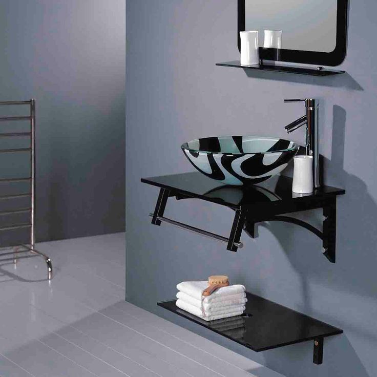Caprice Wall Mount Glass Sink Set With Mirror