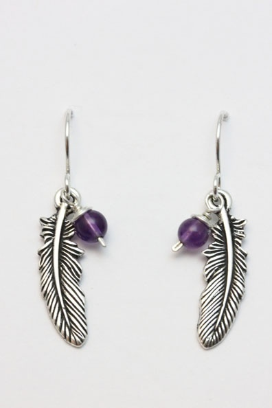 Silver pewter Feather charm with 4mm semi precious stone bead on sterling silver shepherd hooks. Feathers are symbolic of new beginnings, hope and freedom. Choose your bead to add your own special meaning.  Amethyst stone shown in photo.  See photo 2 for bead colour reference and stone meanings.