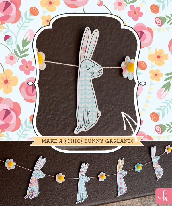 ADORABLE Free Printables: Shabby Chic Easter Bunnies {+ Blog Hop!} from @Hostess with the Mostess