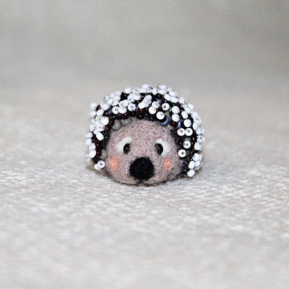 Miniature needle felted grey hedgehog embroidered by SecretFriends