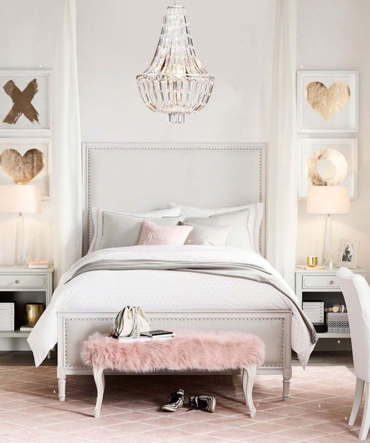 Deco teen girl room chic in white, pastel pink and gold