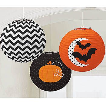 Hang these Modern Halloween Printed Lanterns throughout your party to add color and distinction. Each set includes three Halloween Paper Lanterns.